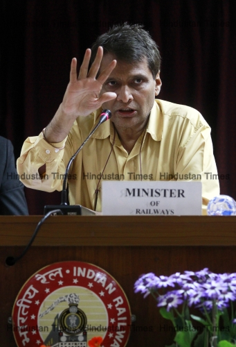 Union Railways Minister Suresh Prabhu Addressing Press Conference After Presenting Rail Budget 2015