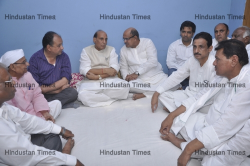 Union Home Minister Rajnath Singh In Ghaziabad, Pays Condolences To Ishwar Tyagi