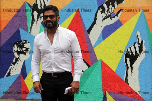 Suniel Shetty And Manidra Bedi At Launch Of Mumbai Traffic Police's Street Smart-Street Safe Campaign