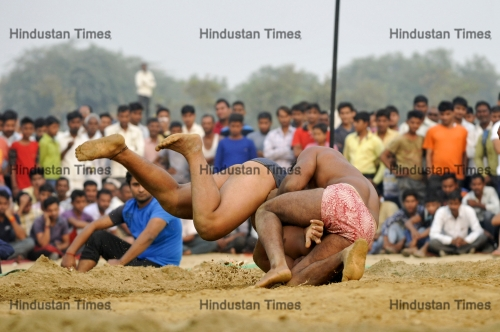 Traditional Indian Wrestling Match