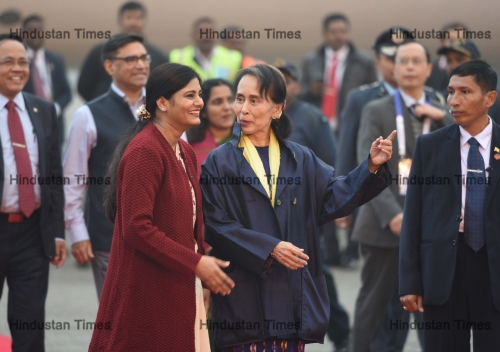Myanmar's State Councillor Aung San Suu Kyi Arrives In New Delhi For ASEAN-India Summit