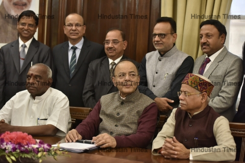 Union Finance Minister Arun Jaitley Pose With His Team On The Eve Of Annual Budget Presentation