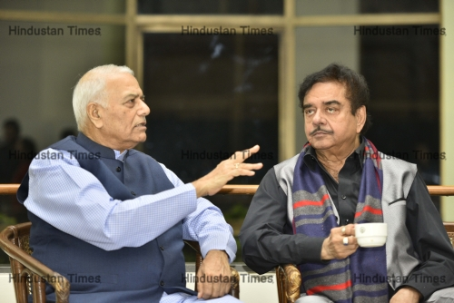 Former BJP Leader Yashwant  Sinha And BJP MP Shatrughan Sinha At Launch Of Former IFS Officer Prabhu Dayals Book
