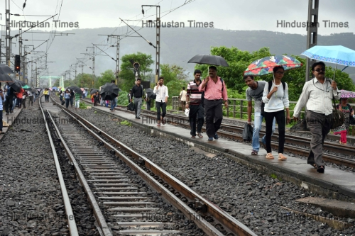People Walk On Track After Freight Train Stuck At Airoli