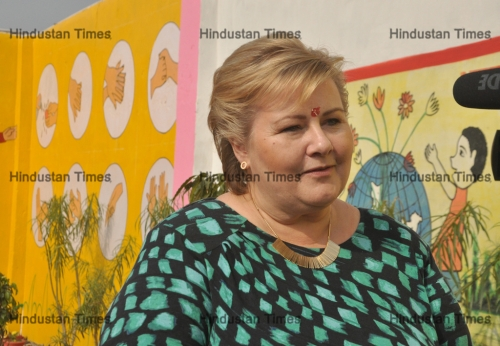 Norwegian Prime Minister Erna Solberg Visits Government School In Nithora Village Ghaziabad