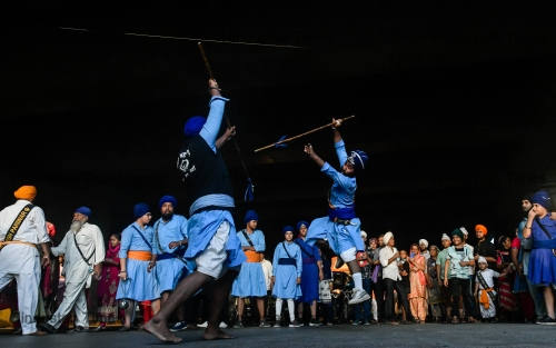 Sikh Community Members Perform Gatka Martial Arts On The Occasion Of Baisakhi