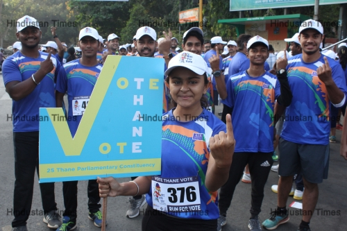 Thnae District Election Commission Organises Run To Create Awareness To Cast Their Vote In Lok Sabha Elections