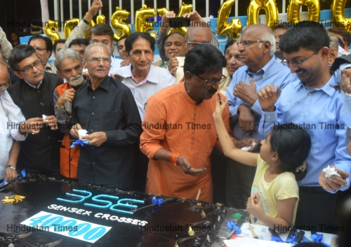 Celebration At BSE On Crossing 40000 Mark