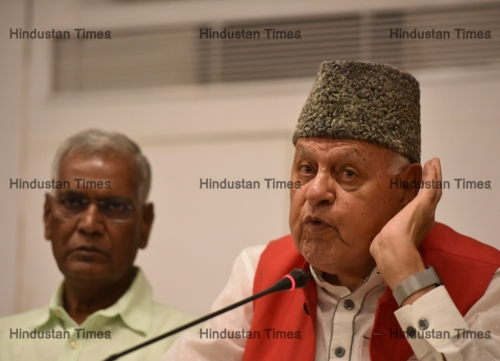 NCP Chief Farooq Abdullah During Discussion On J&K The Way Forward
