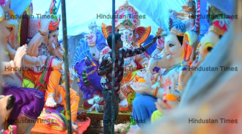 Artists Giving Final Touches To Lord Ganesha Statues For Upcoming Ganesh Chaturthi Festival