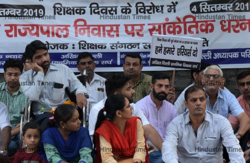 MCD Teachers Sit On Protest For Their Various Demands At Lt. Governor House