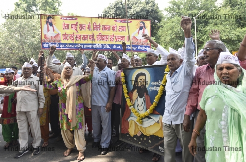 Devotees Protest To Demand The Reconstruction Of Guru Ravidas Temple At Tughlakabad