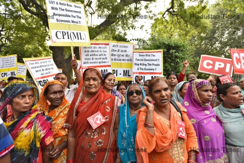 Communist Party Of India (Marxist) Supporters Protest Against Prime Minister Narendra Modi And BJP Government