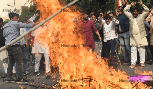 Congress Protest Against BJP Over The Formation Of Maharashtra Government