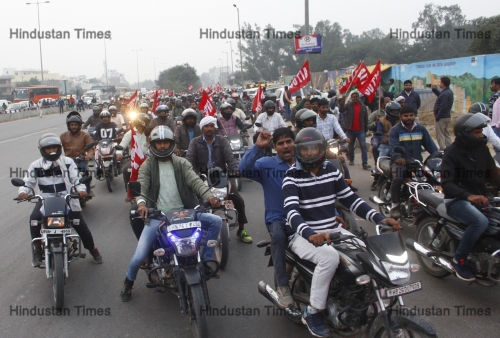 Honda Workers Hold Protest March To Raise Their Demands In Gurugram