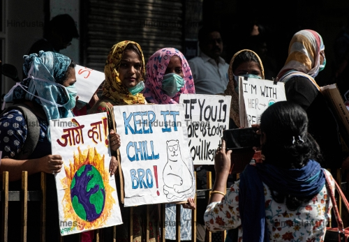 Students Of Various Schools And Colleges Form A Human Chain To Spread Awareness On Climate Change