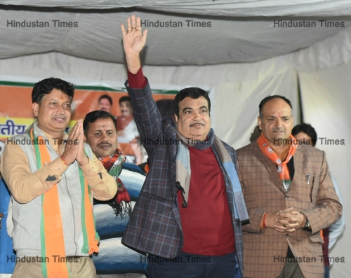 Union Minister Nitin Gadkari Campaigns For Party Candidate Kaushal Mishra Ahead Of The Upcoming Delhi Assembly Election