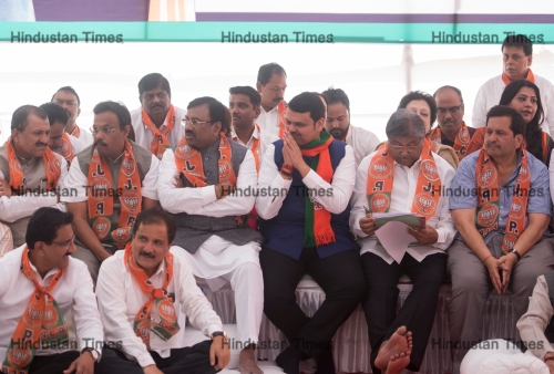 Former Maharashtra Chief Minister Devendra Fadnavis And His Party Members Protest At Azad Maidan