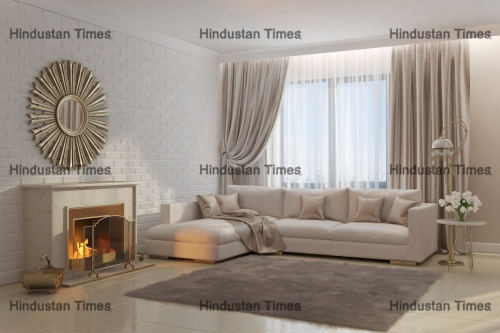 3d,Illustration,Of,Bright,And,Cozy,Living,Room,With,Fireplace