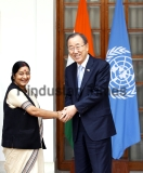 UN Secretary General Ban Ki-moon Meets With Indian External Affairs Minister Sushma Swaraj