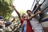 NSUI Members Protest Outside Union Home Minister Rajnath Singh Residence