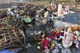 Water Pollution Due To Goddess Durga Idols Immersion