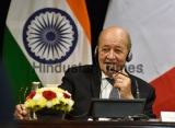 Joint Press Conference Of External Affairs Minister Sushma Swaraj And French minister of Europe and Foreign Affairs Jean Yves Le Drian