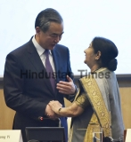Union Minister of External Affairs Sushma Swaraj And Chinese Foreign Minister Wang Yi At the Inaugural Session Of 3rd India-China High Level Media Forum