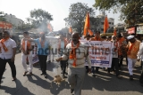 Shiv Sena Stages Protest Aganist Helmet Rule In Pune