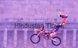 Bikers Performs Stunts During FMX Jam At Gateway Of India