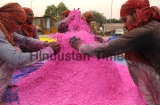 Workers Making Gulal Color For Holi Festival