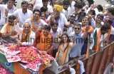 Delhi BJP President Manoj Tiwari Holds A Road Show; Files Nomination Papers