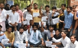 ABVP Members DU Students' Wing Protest Against The Hike In Entrance Exam Fee
