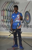 Indian Archers Tarundeep Rai, Pravin Jadhav Practice At Nehru Stadium