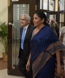 Union Finance Minister Nirmala Sitharaman At The Post-Budget RBI Central Board Meeting