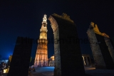 Illuminated Qutub Minar At Mehrauli