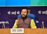 Union Minister Prakash Javadekar Addresses A Press Conference On The Completion Of 100 Days Of The Government