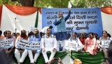 Rajya Sabha MP Vijay Goel Protest To Expose The Kejriwal Government For The Alleged Wastage Of Public Money For Personal Gains