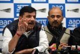 AAP Leader Sanjay Singh During A Press Conference Regarding The Onion Prices