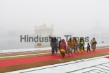 Golden Temple In Foggy Winter Morning