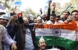 Aam Aadmi Party Celebrates After Victory In Delhi Assembly Elections