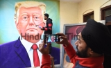 Artist Makes A Painting Of American President Donald Trump Ahead Of His Visit To India