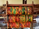 Fashion,Accessories,-,Painted,Wooden,Bangles,On,Display,In,A