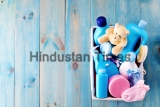 Basket,Of,Baby,Supplies,On,Blue,Background,-,Baby,Time