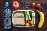 Healthy,Lunch,Box,With,Sandwich,And,Fresh,Vegetables,,Bottle,Of