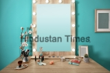 Decorative,Cosmetics,And,Tools,On,Dressing,Table,Near,Mirror,In